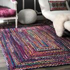 nuLOOM Hand Made Bohemian Braided Cotton Area Rug in Blue, Purple Multi Chindi