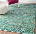 nuLOOM Hand Made Contemporary Striped Cotton Blend Area Rug in Green, Blue