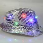 LED Fedora Hat Light Up Sequins Mens Womens Kids Black Novelty Party Accessory