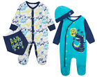 Baby Boys Dino Babygro Sleepsuit Romper 2 Piece Hat Bib Set New Baby Gift Cheap