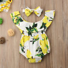 US 2Pcs Newborn Baby Girl Lemon Romper Bodysuit Jumpsuit Outfits Sunsuit Clothes