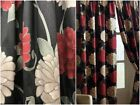 Pair of Fully Lined Black Red Flower Pencil Pleat Curtains Floral Heading Tape