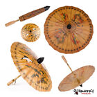Asia Chinese Japanese Parasol Oil Paper Bamboo Wood Umbrella Decor Photo Vintage