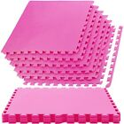 Large PINK Interlocking EVA Soft Foam Exercise Floor Mats Gym Garage Office Mat