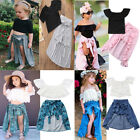 3PCS Baby Girl Lace T-shirt Tops Short Pants Bowknot Dress Party Clothes Outfits
