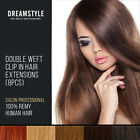 Double Wefted & Standard Clip In Remy Human Hair Extensions Full Head