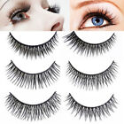3 Pairs Handmade 3D False Eyelashes Long Thick Cross Full Srip Lashes Extension