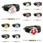 plain stainless Steel Essential Oil Diffuser Locket Black PU Leather Wristband