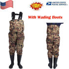 Waterproof Overall Chest Waders Camoflauge Fly Fishing-Hunting With Wading Boots