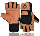 MENS LEATHER WEIGHT LIFTING GLOVES GYM EXERCIDE FITNESS CUT FINGER CYCLE GLOVE
