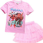 1 Set Girls Cute Moana Summer Tops Shirts Mesh Short Dress Holiday Party Outfits