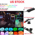 Neon LED Lamp Light Glow EL Wire String Strip Rope Tube + Controller 10 Colors