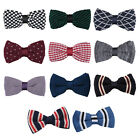 DQT Premium Knit Knitted Solid Plain Patterned Check Stripe Spotted Mens Bow Tie