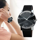 US Casual Women Man Stainless Steel Leather Band Quartz Wrist Watch Analog Watch image