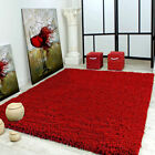 Large Thick Pile WINE RED Soft Shaggy Rug Non Shed Flooring Home Carpet Rugs New