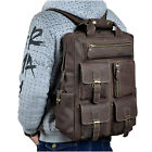 Mens Leather Fashion Daypack Backpack Design Travel Laptop School Book Bag Male