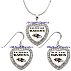 Baltimore Ravens 925 Necklace / Earrings or Set Team Heart With Rhinestones $8.99 USD on eBay