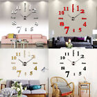 Modern DIY Small/ Large Number Wall Clock 3D Mirror Surface Stickers Wall Decors