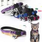 Glitter Cat Pet Collar Safety Kitten Puppy Adjustable Shiny Strap Bell Necklace