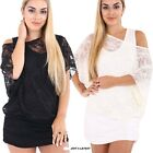 New Womens Ladies Lace Vest Insert Baggy Oversized Batwing T