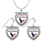 Houston Texans 925 Necklace / Earrings or Set Team Heart With Rhinestones on eBay