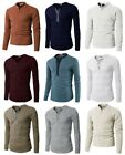 H2H Men's Casual Slim Fit Basic Henley Long Sleeve T-Shirt Tee image