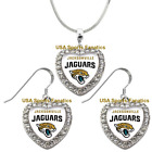 Jacksonville Jaguars 925 Necklace / Earrings or Set Team Heart With Rhinestones $14.99 USD on eBay