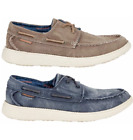 *New* Skechers Men's Memory Foam Vintage Washed Canvas Boat Shoes Navy or Brown