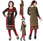 UK STOCK Black Women Printed Indian Pakistani Long Kurti Kurta Tunic Dress 113A