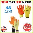 LATEX COATED ORANGE RUBBER SAFETY WORK GLOVES MENS BUILDERS GARDENING 24 PAIRS  <br/> VAT Invoice, Sizes M-XL, Quick Delivery, UK Based