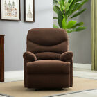 Recliner Chair Microfiber Reclining Furniture Home Living Room Chocolate Beige