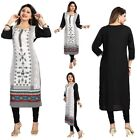 Women Black White Indian Long  Cotton Printed Tunic Kurta Shirt Dress MM175