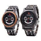 Smile Face Design Lovers' Natural Wood Watches Chronograph Date Quartz Watches image