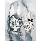 Hand-painted Bunny Girl and Boy Home Decor Wall Art Canvas painting Poster Print