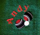 Personalised Embroidered Bowls Design Towel.