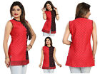 UK STOCK - RED COTTON WOMEN FASHION INDIAN KURTA KURTI TUNIC TOP SHIRT MM124