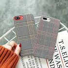 Fashion Grid Fabric Canvas Phone Case For Apple iPhone 7 6S 6 8 Plus X Lattice C