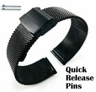 Black Steel Adjustable Mesh Bracelet Watch Band Strap Double Lock Clasp #5026 image