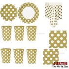 Gold Colour Spot Polka Dot Disposable TABLEWARE Events Catering Birthday Party