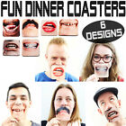 6x Fun Dinner Coasters Teeth Drinks Matt Party Table Novelty funny games Parties