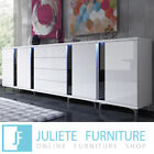 White Dresser Large Chest of drawers 300 Gloss SET Sideboard Cabinet LED 280cm