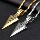 Men's Fashion Jewelry Gold Silver Arrow Head Pendant Long Chain Necklace Gift