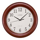 Decorative Wall Clock Atomic Round Brown Wood Radio Controlled Set Home Office
