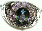 Men's 11x9mm Flashy Mystic Topaz Stainless Steel Ring   Awesome Colors  31513
