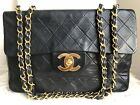 AUTHENTIC CHANEL VINTAGE QUILTED CLASSIC MAXI JUMBO XL FLAP BAG IN BLACK (GHW)