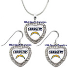 Los Angeles Chargers 925 Necklace / Earrings or Set Team Heart With Rhinestones $8.99 USD on eBay