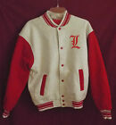 NWOT Fruit of the Loom Adult Letterman Varsity Coach Cotton Jacket Red Grays