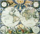 Vintage 1666 Map of The World  Pieter Goos Atlas Poster Art Reprint A3 A4
