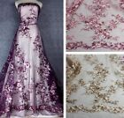 GORGEOUS EMBROIDERED FLORAL BRIDAL DRESS MESH LACE FARIC