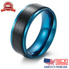 Men's Ring, Stainless Steel 8mm Brushed Black and Blue Wedding Band